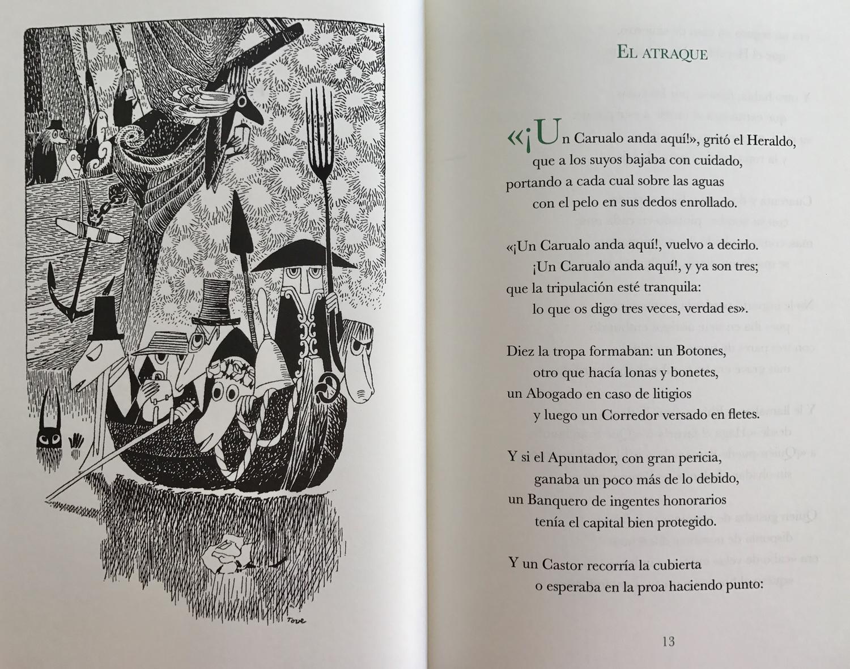 Una de las ilustraciones de Tove Jasson para La caza del Carualo